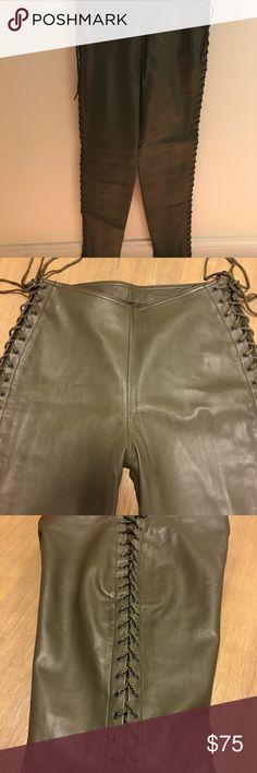 Catherine malandrino leather pants Catherine Malandrino leather pants fully lined, lace up on side of leg 100% genuine leather  Inseam 29, waist 28, hip 19  Great condition Catherine Malandrino Other