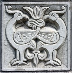 Old bas-relief of fairytale two firebirds — Stock Photo #5763642