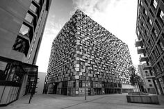 "Charles Street Car Park as seen from St. Paul's Square, Sheffield. Affectionately known locally as ""The Cheese Grater""."