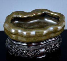 VRARE 18THC CHINESE QIANLONG TEADUST GLAZE RUYI LOTUS BRUSH WASHER BOWL VERMEER Washer, Glaze, Lotus, Porcelain, Chinese, Pottery, Antiques, Enamel, Ceramica