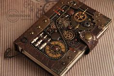 The brown steampunk notebook Ammunition created with great attention to detail and accuracy. Each element takes its precisely tuned place, because I always create a sketch before starting work. Much time and patience has been paid to fasten each element on the cover, so you can be