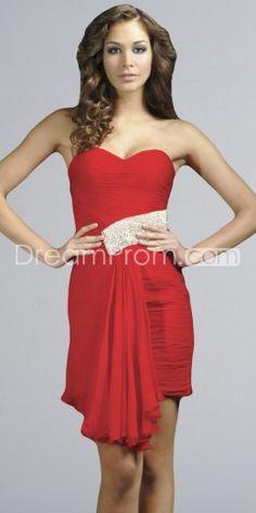 Red Short/Mini-Length Sweetheart Column/Sheath Sleeveless Cocktail Dress