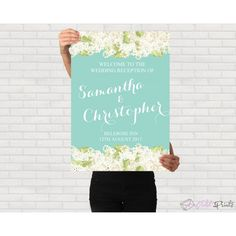 Mint and White lilac Wedding poster template