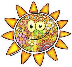 Dan Morris - Sunbright - Sticker, in. x 4 in. Walking In Sunshine, Good Morning Sunshine, Sun Painting, Sun Moon Stars, Sun Designs, Sun Art, Hippie Art, Zen Doodle, Weird And Wonderful