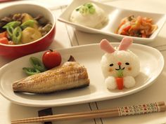 bunny rice w/ grilled fish dinner | Japanese traditional stlye