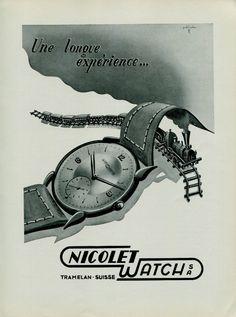 1949 Nicolet Watch Company Switzerland Vintage 1949 Swiss Ad Advert Suisse Suiza. #nicolet #tramelan #swiss #vintage #watch #ads #ad #watches #stawc