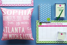 Personalize It! Pillows, stationary, trays, and art.