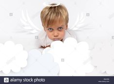 Naughty or good child for Christmas card? PF or letter to Santa-Claus for Christmas. Little child boy appearing as an adorable angelic devilStock Photo Little Children, Santa Letter, Kids Boys, Christmas Cards, Angel, Lettering, Stock Photos, Devil, Illustration