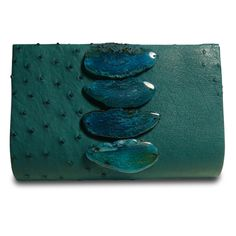 paige gamble the classic clutch, teal ostrich & agates.