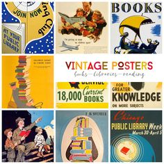 Retro posters aimed at encouraging to read #books or visit a #library