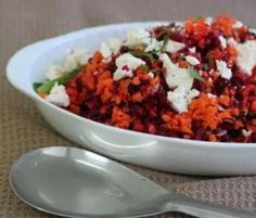 Recipe Beetroot and Carrot Salad with Feta & Pomegranate Molasses by Thermomix in Australia - Recipe of category Side dishes Pomegranate Recipes, Pomegranate Molasses, Savoury Dishes, Food Dishes, Side Dishes, Beetroot And Carrot Salad, Molasses Recipes, Low Calorie Smoothies, Cooking Recipes
