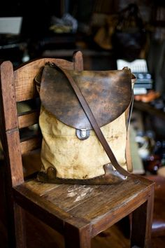 Vintage canvas and leather