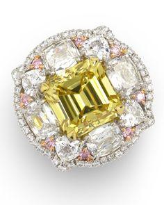 Radiant Yellow Diamond Engagement Ring Item #391-117 4.07 ct Fancy Vivid Yellow Diamond Emerald Cut Square 8.9 x 8.83 x 5.98 mm Vs2 & 3.00 ctw Pink & White Diamond Cushion & Round Platinum & 18K Rose Gold Ring GIA Lab Report W/ Gia Cert Size 4.5 - Gem Shopping Network