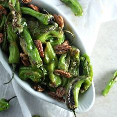 Blistered Shishito Peppers with Sugared Pecans and Miso Aioli