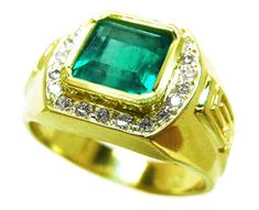 14K yellow gold men's emerald ring
