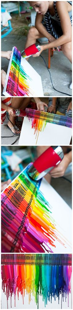 How To Make Colorful Melting Crayon Canvas Art - must do this with Cal
