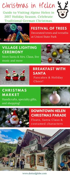 Discover the most popular things to do and main attractions in Helen, Georgia. Information on how to reach Helen, when is the best time to go, fun tourist attractions, hiking, fishing and other outdoor activities, river tubing in Helen in summer, Christmas celebrations including Helen's Christmas market, Downtown parade & fun events. Read more by clicking on the article.