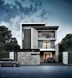 55 Awesome Home Exterior Design Ideas. You can fix your home exterior design even if you do not have much money. In this article I am going to talk about the ways to improve your home exterior design. Villa Design, Facade Design, House Front Design, Tiny House Design, Modern House Design, Modern House Exteriors, Architecture Renovation, Architecture Design, Amazing Architecture
