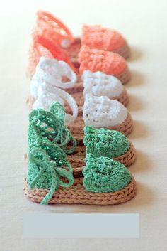 Sandalias en crochet para bebé http://www.minimoda.es