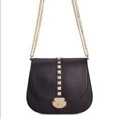 Calvin Klein hardware shoulder/cross body bag Black leather, gold hardware, gold clasp/full closure. Strap is leather and gold chain. Calvin Klein Bags Crossbody Bags