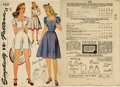 1940s Misses dress or 3-pc playsuit  Simplicity 4321