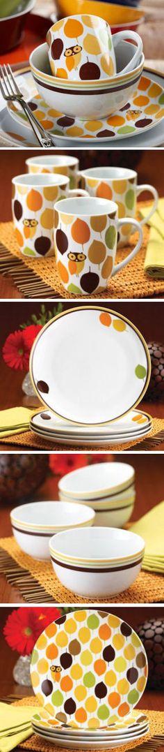 Little Hoot Four-Piece Dinnerware Set | #rachaelray #owl #dishes