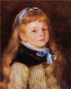 Mademoiselle Grimprel in a Blue Ribbon - Pierre-Auguste Renoir