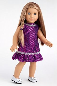 Violet - Purple sequin dress with silver belt and silver shoes - 18 Inch American Girl Doll Clothes  Price : $21.97 http://www.dreamworldcollections.com/Violet-Purple-sequin-American-Clothes/dp/B004OUMTAQ