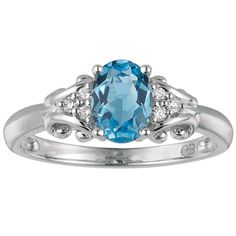 Gabriel & Company 14K White Gold Blue Topaz and .06ctw Diamond Ring #jewelry #topaz #ring #diamonds