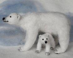 Needle Felted Polar Bear Mom and Cub, Poseable, Soft Wool