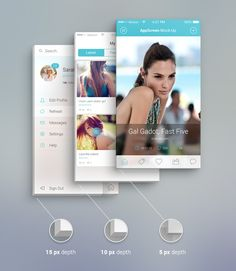 A front view app screen mock-up to present your latest app or interface design. It comes with 3 depth sizes(5 px, 10 px , 15 px)...