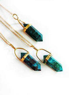 CHRYSOCOLLA point necklace by keijewelry on Etsy