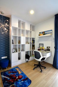 #kidsroom #studyroom #bookshelf #blue #white #spiderman #boy