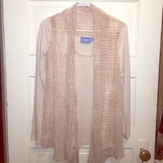 Two in one! Tank and light flowy cardigan Simply Vera two in one! Great for spring, in a light pink color. Tank attached to flowy sheer and knit cardigan. Never worn! Simply Vera Vera Wang Tops Tees - Long Sleeve