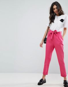ASOS Woven Peg Pants with Obi Tie - Pink