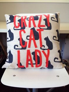Crazy Cat Lady Pillow by LittleMissMoustache on Etsy, $35.00