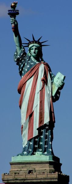 Statue of Liberty dressed in the Flag