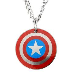 "Boys' Marvel® Avengers Captain America Shield Stainless Steel Pendant with Ball Chain (18"") : Target"