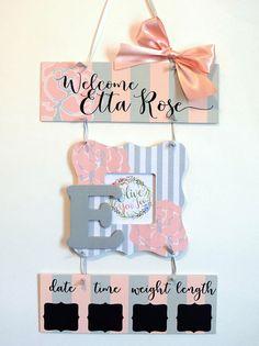 Baby Girl Hospital Door Hanger - Welcome Baby Girl Pink   Grey - Hospital  Baby Sign - Baby Door Hang 69df01fb69fa