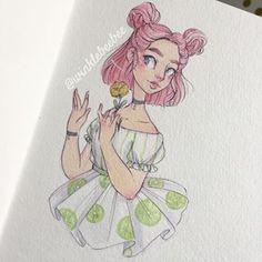 Character Design Idea~ By Winklebeebee Cartoon Drawings, Easy Drawings, Cartoon Art, Drawing Sketches, Pretty Art, Cute Art, Character Drawing, Character Design, Poses References