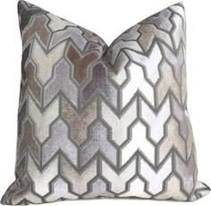 """Arrow Geometric Beige Taupe Gray Cream Velvet Pillow Cover, Fits 18""""x1, Throw Pillows, by Aloriam"""
