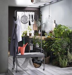 Using the hooks included, VEBERÖD room divider can store anything from cookware to office accessories. #IKEAnews #VEBERÖD #roomdivider