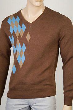 Rosasen Sebastian V Neck Mens Sweater Brown Size Xxl