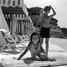 Christina Onassis and brother Alexander at the Monte Carlo Beach Club, 1958