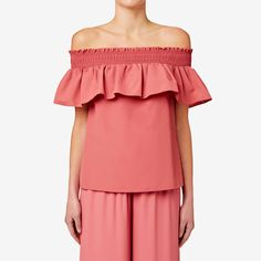 Embrace the off the shoulder trend with this easy-to-wear top. With an elasticised neckline and relaxed fitting silhouette, the frill detail at the yoke means that this style can easily take you from day to night. Made from polyester taffeta, it's available in Deep Rose and Black and in sizes 6 to 14. Our model in the close up photo wears size 10 and is 179cm tall.