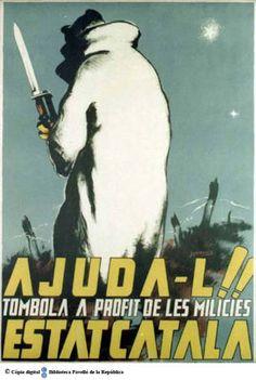 Ajuda'l!! Estat Català : tómbola a profit de les milícies :: Cartells del Pavelló de la República (Universitat de Barcelona)