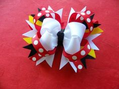 Large Mickey Minnie Mouse Boutique Layered Hair Bow