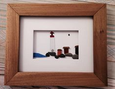 Sea Glass Picture Lighthouse pebble art 8 x 10 Framed