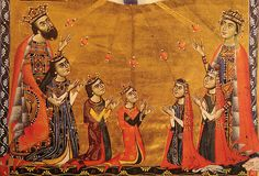 King Levon II and Queen Keran of Armenia (1272). They are shown here with five of their fifteen children, including eldest daughters,  Princesses Fimi and Zabel.