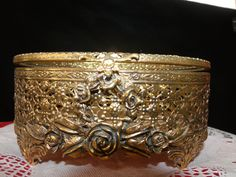 Gold Plated Filigree Jewelry Casket w/Beveled Glass Lid Ornate Roses on Oval Jewel / Trinket Box Vintage Vanity Dish…